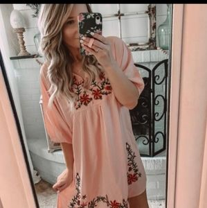 🥳🎊SALE-PINK EMBROIDERED TUNIC BOHO DRESS